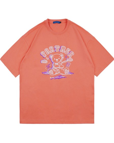 Letter & Teddy Bear Print Short Sleeve T-shirt