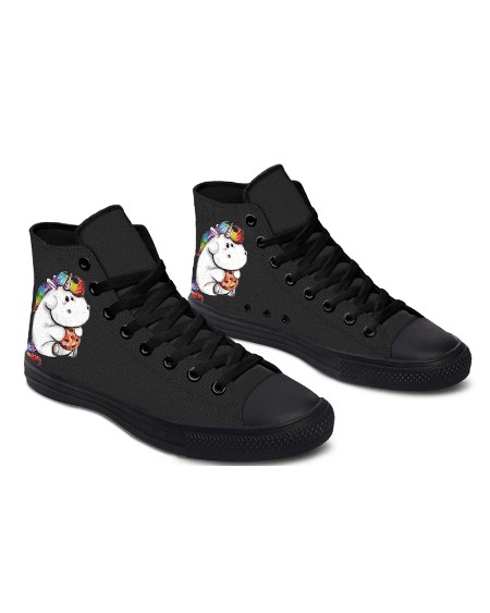 Womens Hippo Unicorn Print Lace-up High Top Canvas Casual Shoes