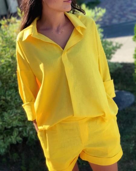 Long Sleeve Shirt & Pocket Design Shorts Set