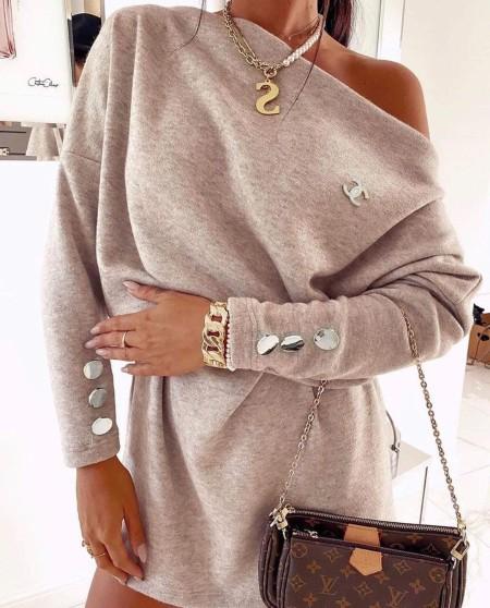 One Shoulder Button Decor Sweatshirt Dress