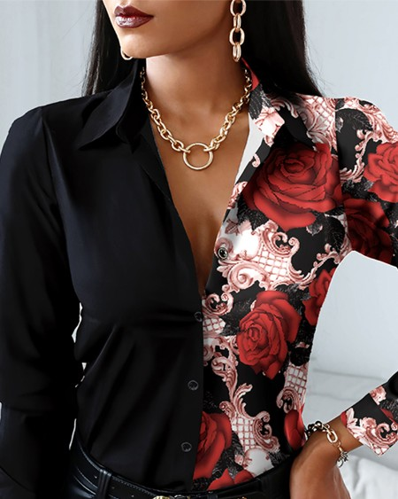 Floral Print Colorblock Long Sleeve Button Up Top