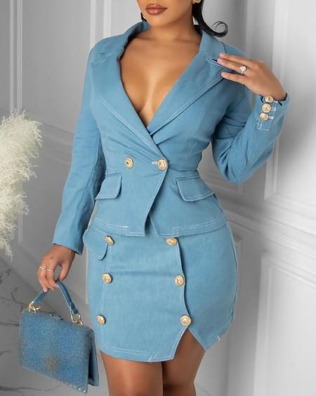 Long Sleeve Double Breasted Blazer Coat & Skirt Set