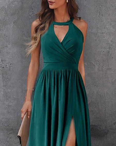 O Neck Cutout Zip Back High Slit Maxi Dress