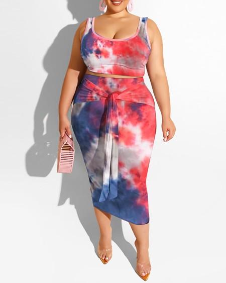 Plus Size Tie Dye Print Thick Strap Top & Skirt Set