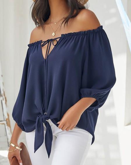Off Shoulder Plain Long Sleeve Top