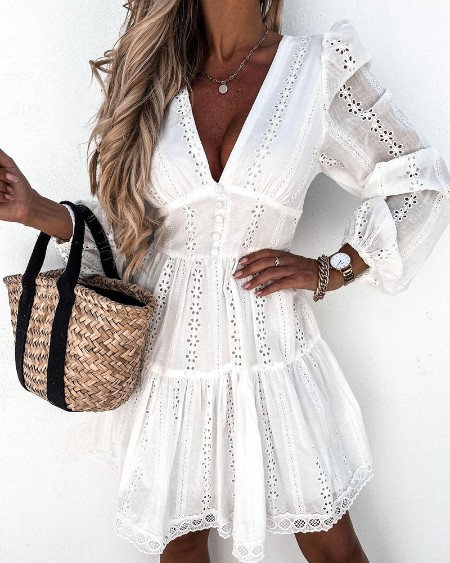 V-neck Bubble Sleeve Tight Waist Hollow-out Button Front Dress