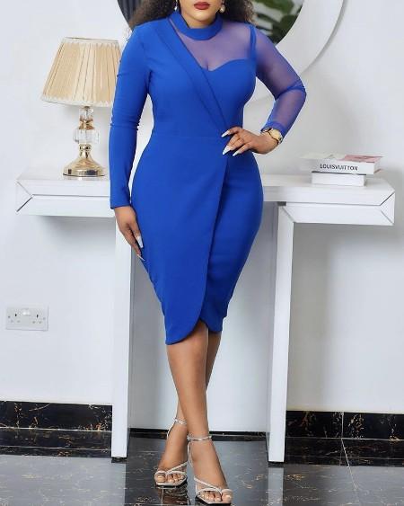 Plus Size Long Sleeve Sheer Mesh Work Dress