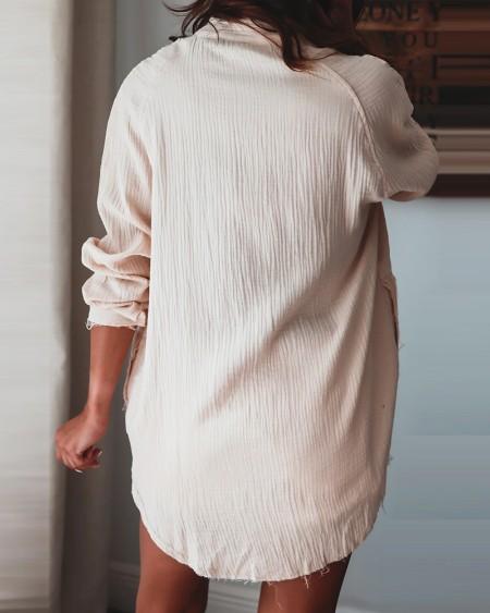 Long Sleeve Button Design Casual Top
