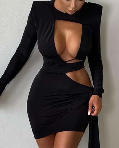 Cut Out Long Sleeve Bodycon Dress