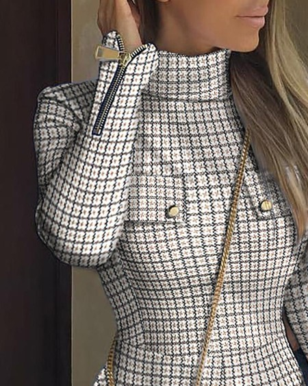 Plaid Zipper Pocket Design Long Sleeve Dress