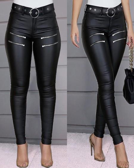Zipper Design High Waist PU Leather Skinny Pants