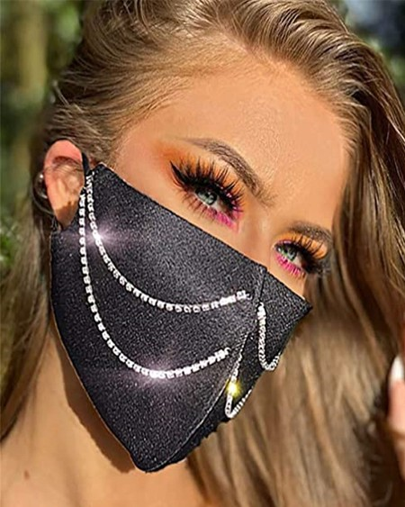 Double Rhinestone Strap Breathable Face Mask