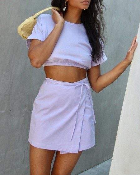 Solid Short Sleeve Cropped T-shirts With Slim Mini Skirts Suit Sets