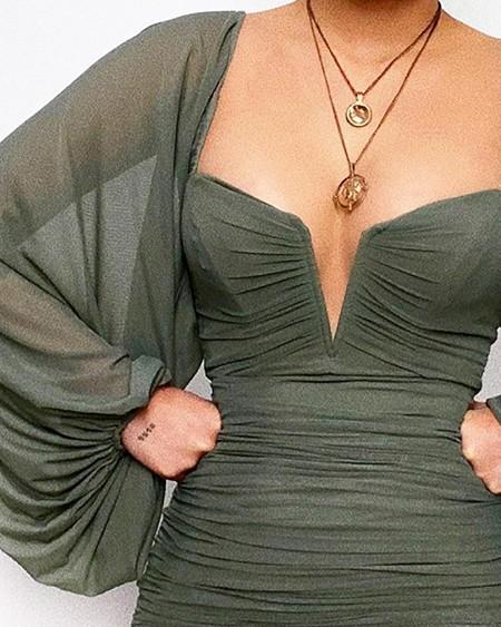 V-Cut Lantern Sleeve Ruched Bodycon Dress