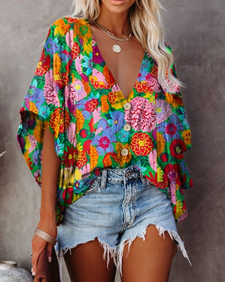 Multicolor Flowers Print Half Sleeve Loose Button-up Blouse