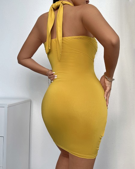 Halter Ruched Cutout Bodycon Dress