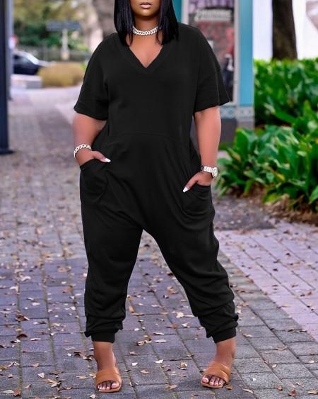 Pocket Design Plain Short Sleeve Jumpsuit
