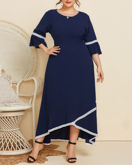 Plus Size Contrast Lace Ruffle Hem Half Sleeve Maxi Dress