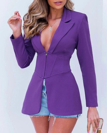 Long Sleeve Slit Corset Blazer Coat