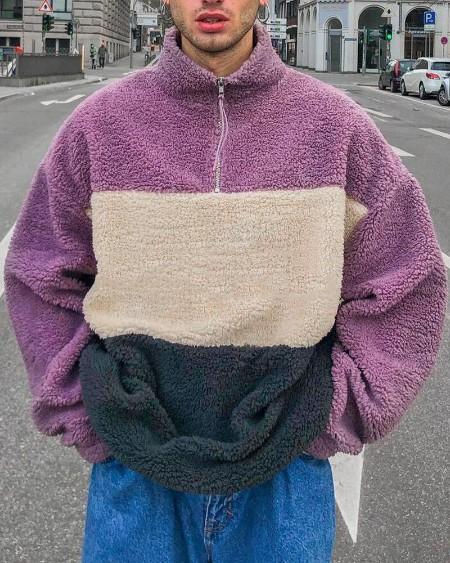 Mens Fashion Colorblock Print Plush Long Sleeve Sweatshirt