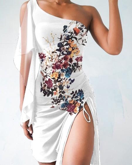 One Shoulder Floral Print Mesh Drawstring Slit Dress