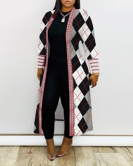 Argyle / Geometric / Zebra Stripe Print Ribbed Cardigan