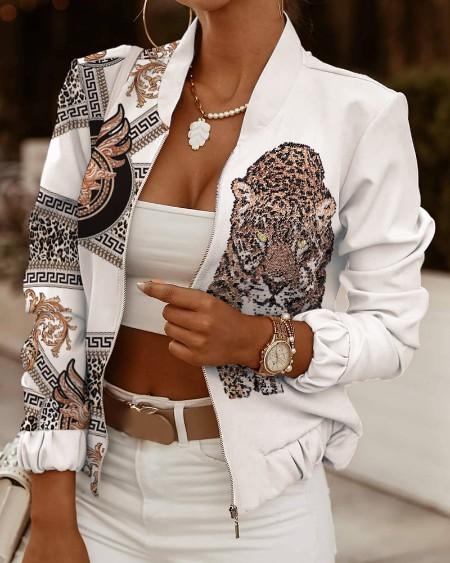 Animal Print Long Sleeve Zip Up Jacket
