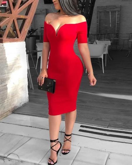 Solid Off Shoulder Short Sleeve Midi Dress