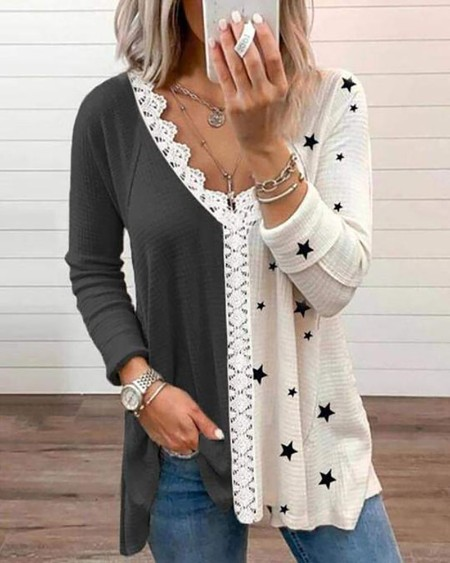 Star Print Colorblock Lace Patch T-shirt