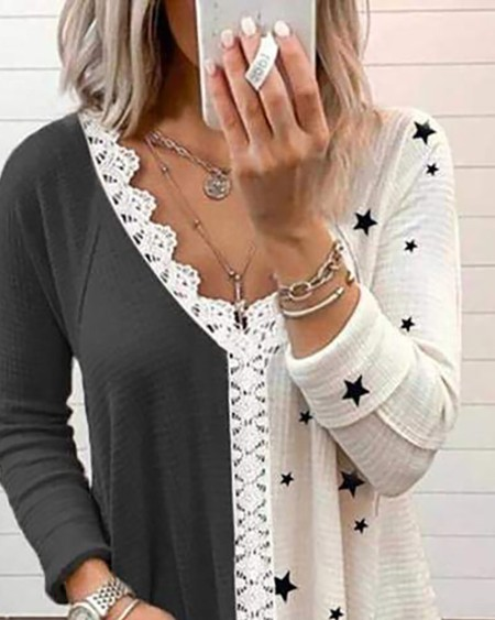 Star Print Colorblock Lace Patch T-shirt