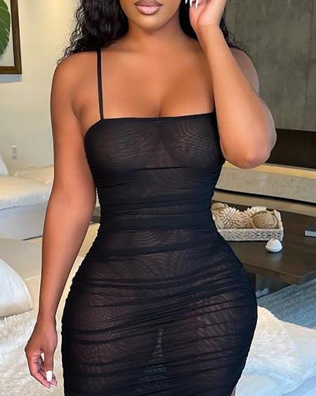 Spaghetti Strap Sheer Mesh Ruched Maxi Dress