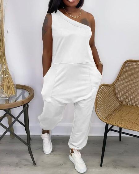 One Shoulder Pocket Design Casual Jumpsuit