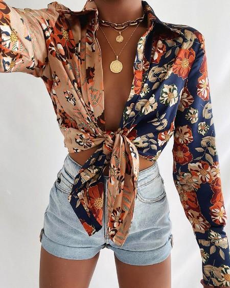 Leaf Floral Print Tie Front Long Sleeve Shirt