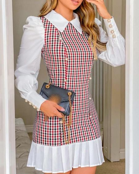 Elegant Plaid Print Button Decor Puff Lantern Sleeve Dress Long Sleeve Slim Dress