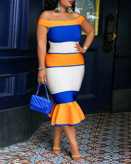 Color Block Off Shoulder Zipper Back Skinny Mermaid Dress