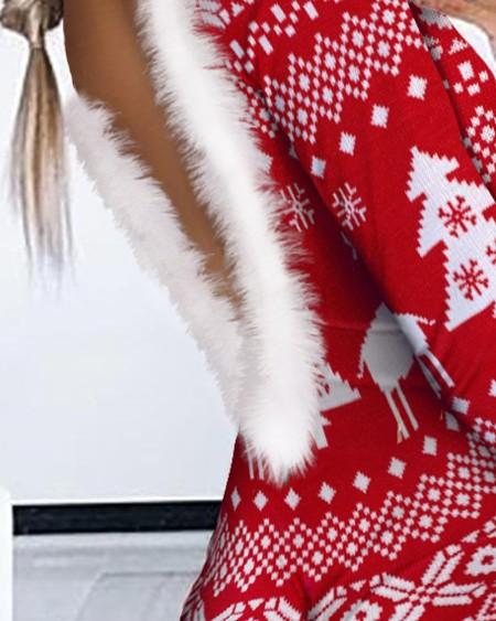 Christmas Print Feather Detail Long Sleeve Romper