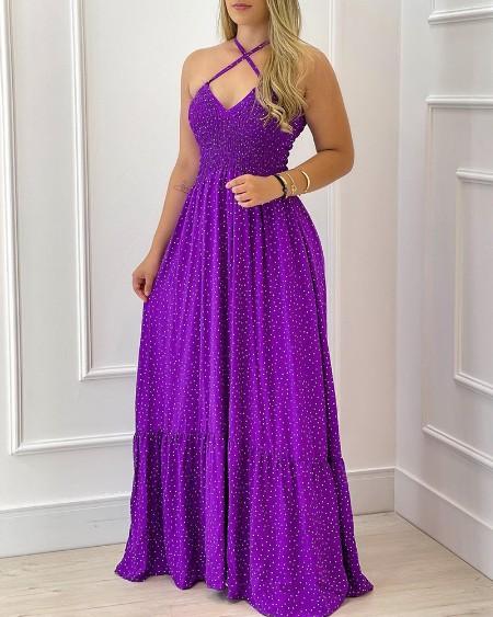 Halter Polkadot Print Evening Dress