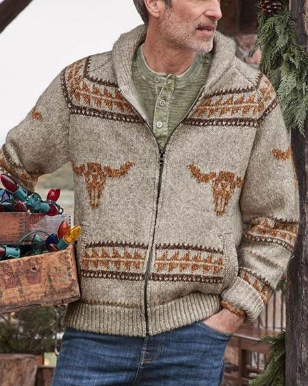 Mens Long Sleeve Sweater Cardigan With Pocket