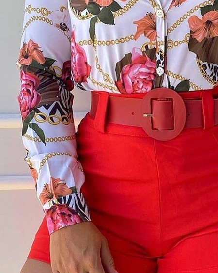 Chain Floral Print Top & Plain Shorts Set