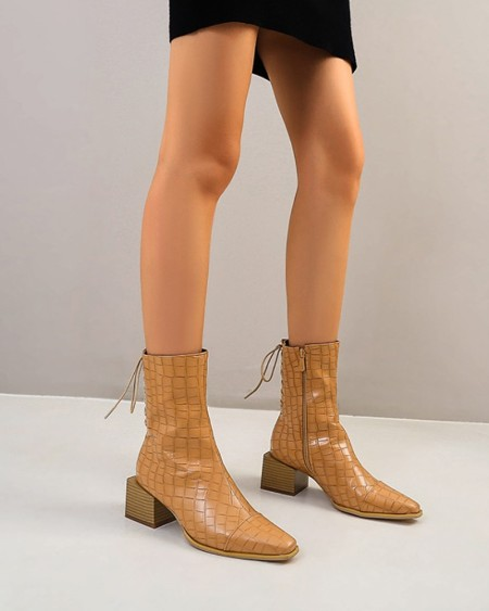 Chic Women Round Toe Heeled Lace Up Ankle Boots With Solid Color Print