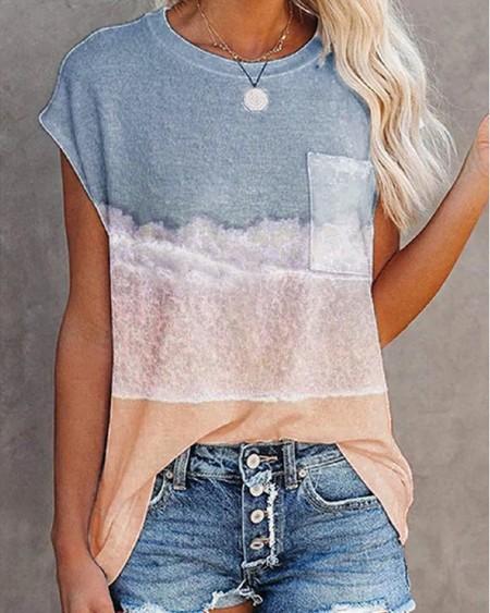 Round Neck Short Sleeve Graphic Print T-shirt