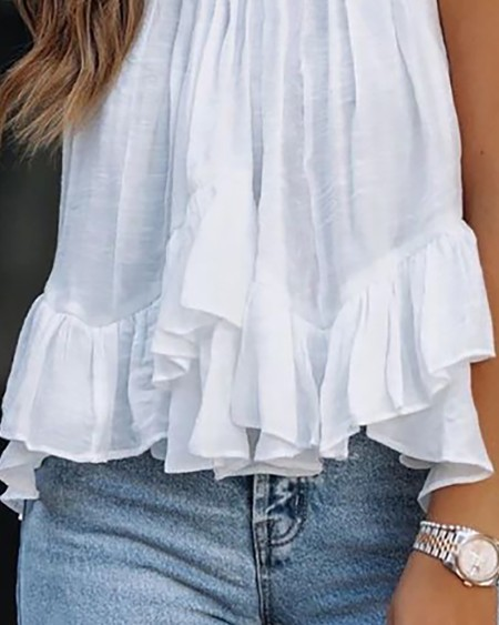 Mock Neck Ruched Ruffles Sleeveless Casual Top
