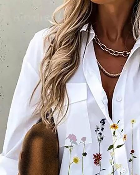 Floral Print Pocket Design Long SleeveShirt