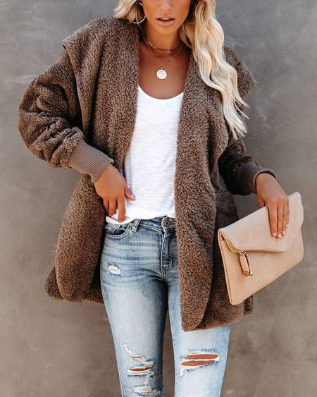 Long Sleeve Pocket Detail Hooded Teddy Coat