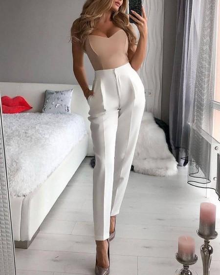 Solid Tube Top & Pencil Pants Set