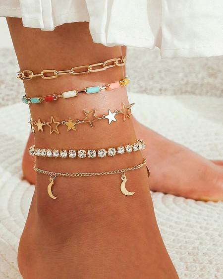 5PC Star Moon Pattern Rhinestone Colorful Anklet