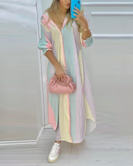 Colorful Stripe Print Button Front High Slit Long Shirt Dress