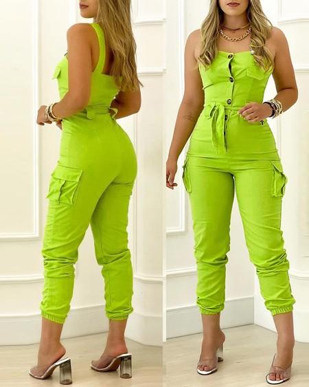 Buttoned Pocket Design Sleeveless Jumpsuit
