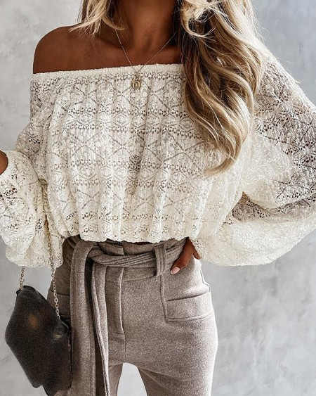 Off Shoulder Long Sleeve Lace Top