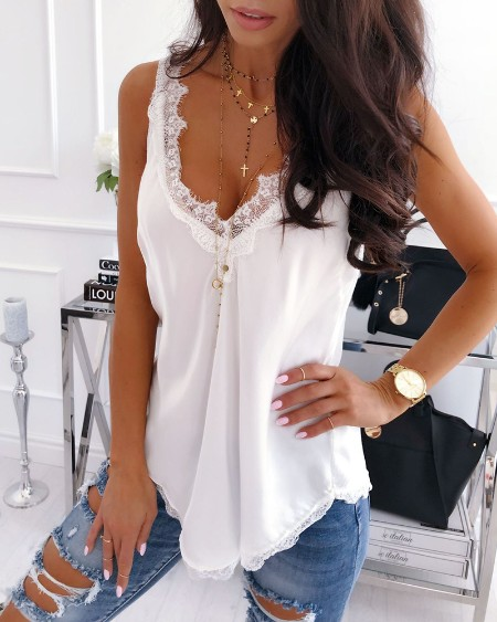 Eyelash Lace Trim Satin Sleeveless Women Top